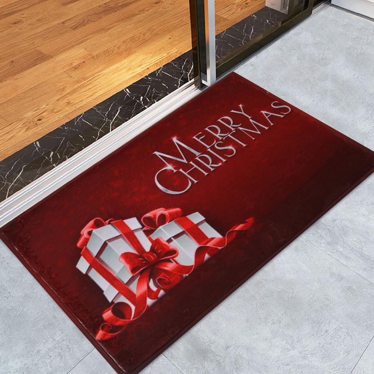 Merry Christmas Gift Print Skidproof Bath Mat - DARK RED W16 INCH * L24 INCH