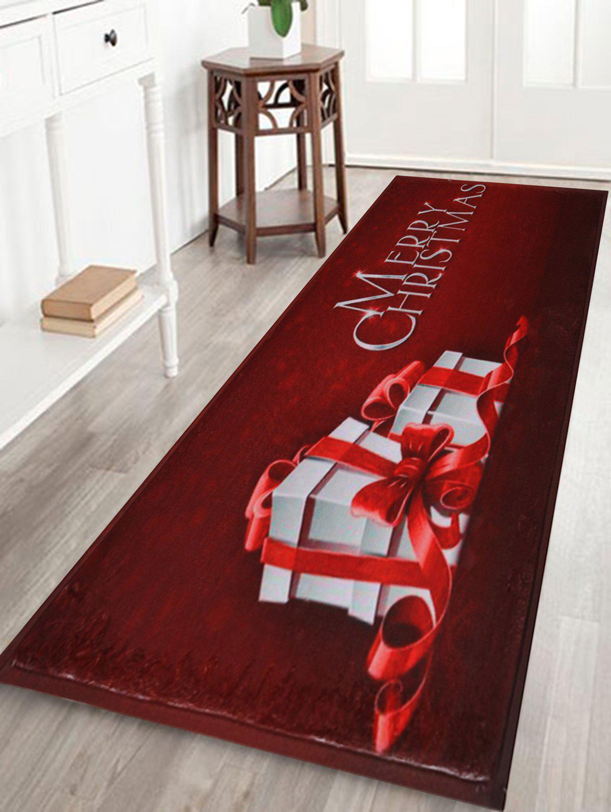 Merry Christmas Gift Print Skidproof Bath Mat - DARK RED W24 INCH * L71 INCH