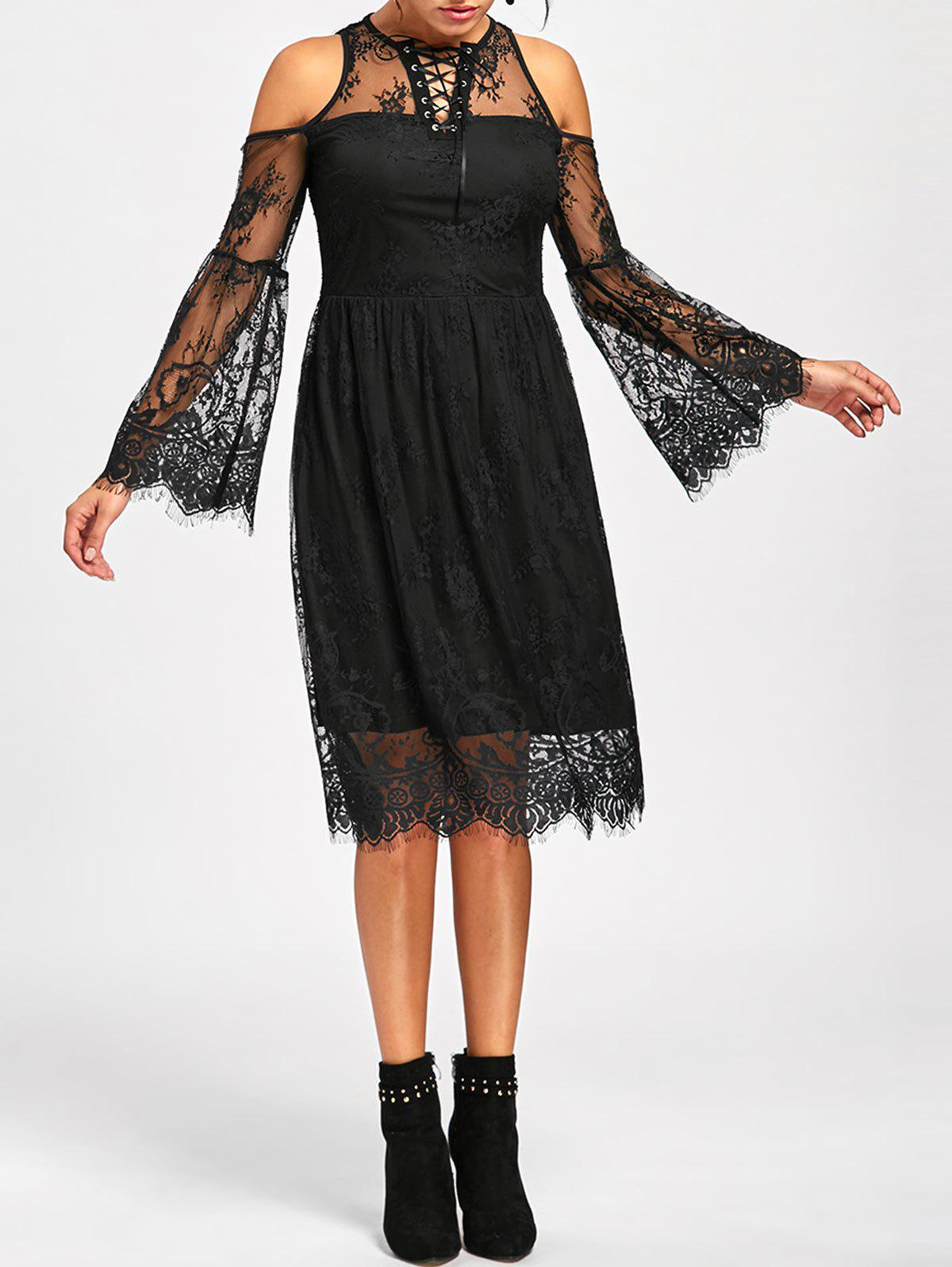 Halloween Cold Shoulder Flare Dress - BLACK L
