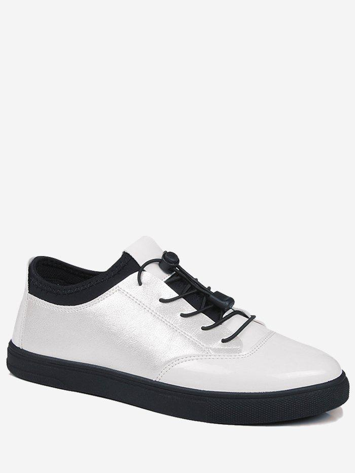 Tie Up Low Top Bright Color Casual Shoes - WHITE 43