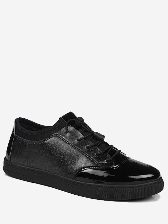 Tie Up Low Top Bright Color Casual Shoes - BLACK 44