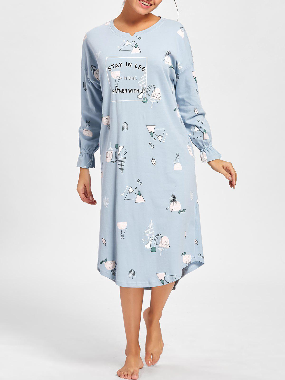 Oversized Print Long Sleeve Pajama Dress - LIGHT BLUE 2XL