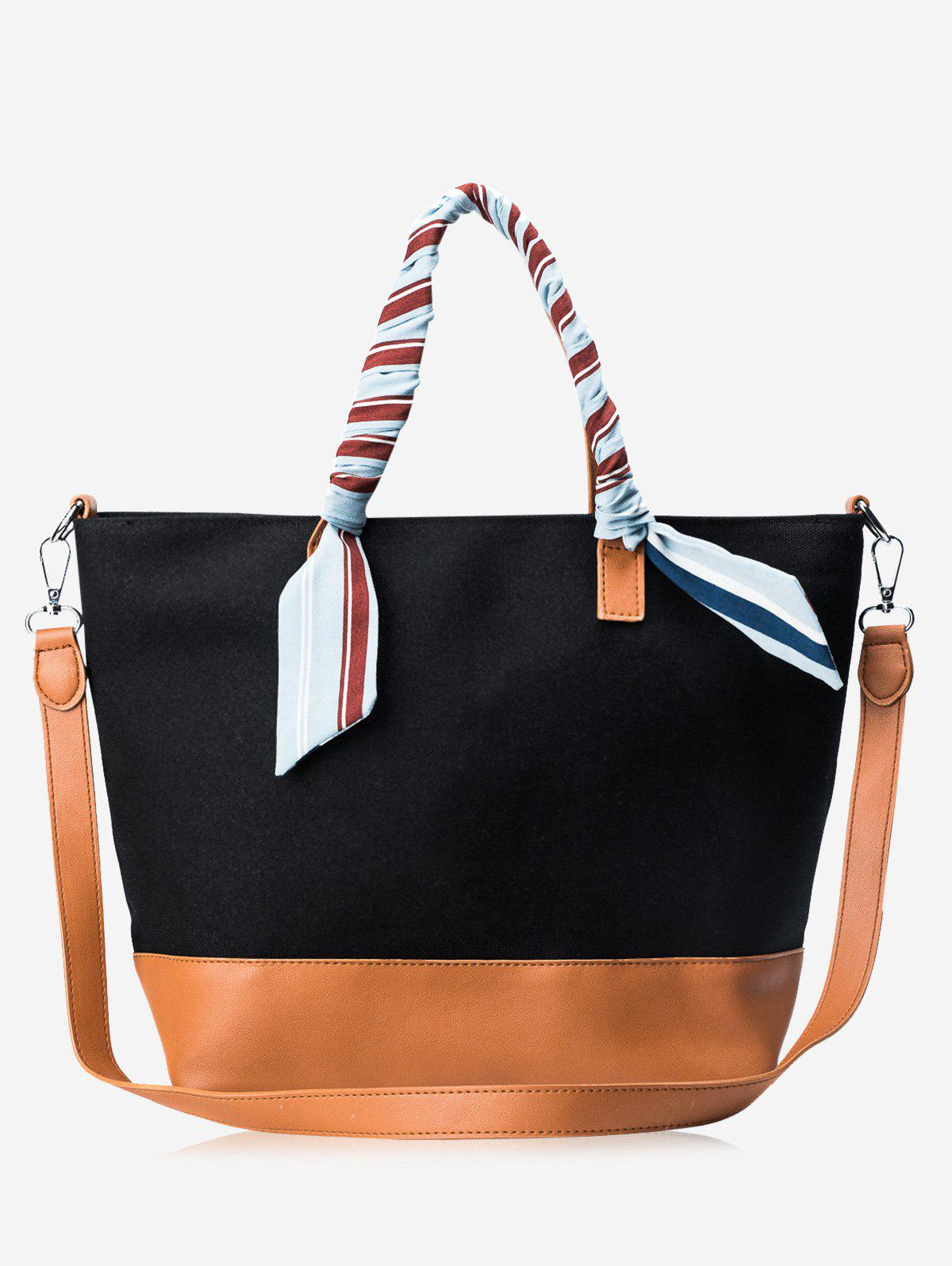 Color Block PU Leather Ribbon Handbag - BLACK/BROWN