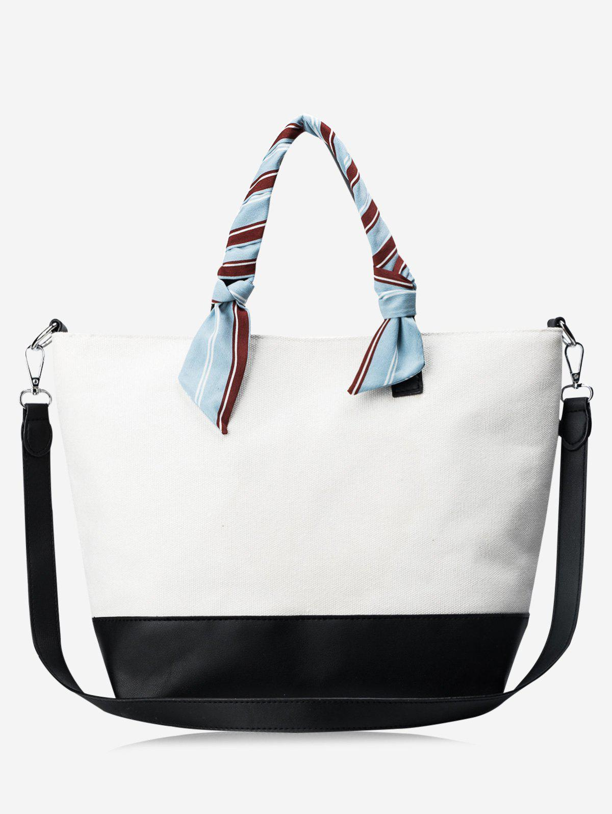 Color Block PU Leather Ribbon Handbag - WHITE/BLACK