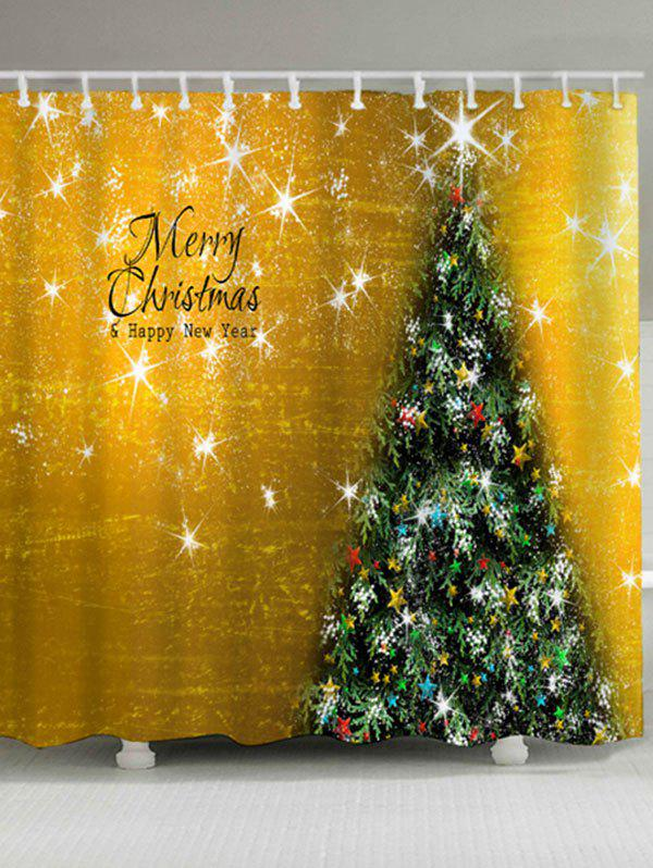 Christmas Tree Waterproof Bath Curtain - GOLDEN W71 INCH * L79 INCH