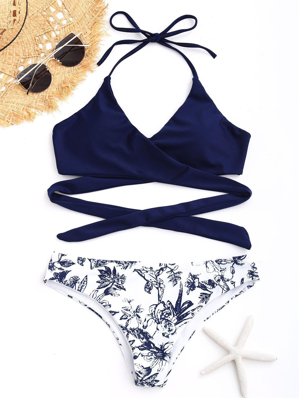 Porcelain Floral Print Wrap Bikini Set - DEEP BLUE XL