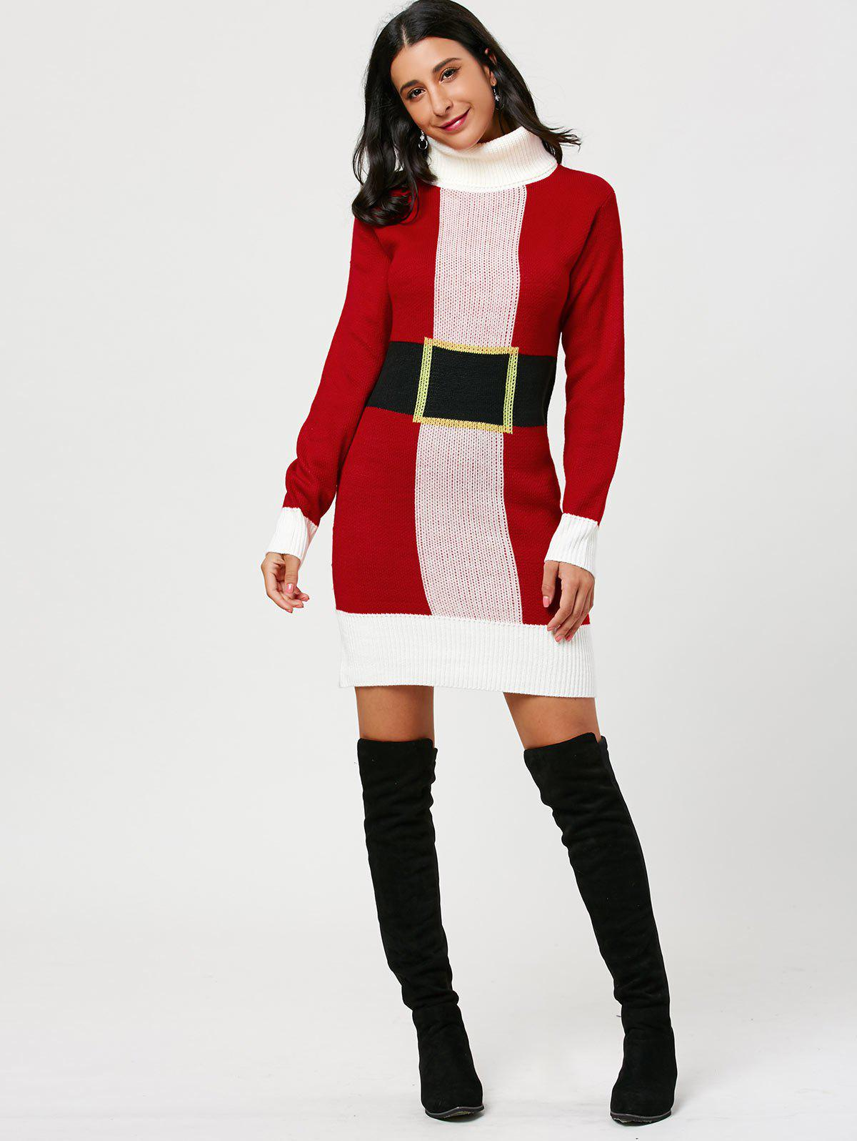 Christmas Belted Pattern Turtleneck Sweater Dress - RED ONE SIZE