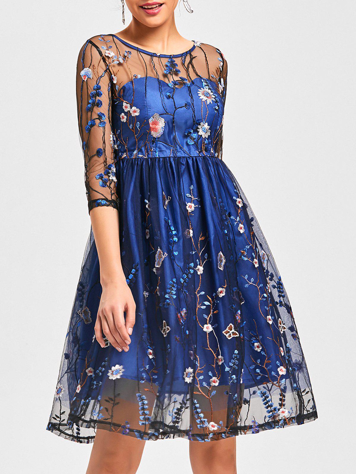 See Thru Embroidery Fit and Flare Dress exterm hc 5105