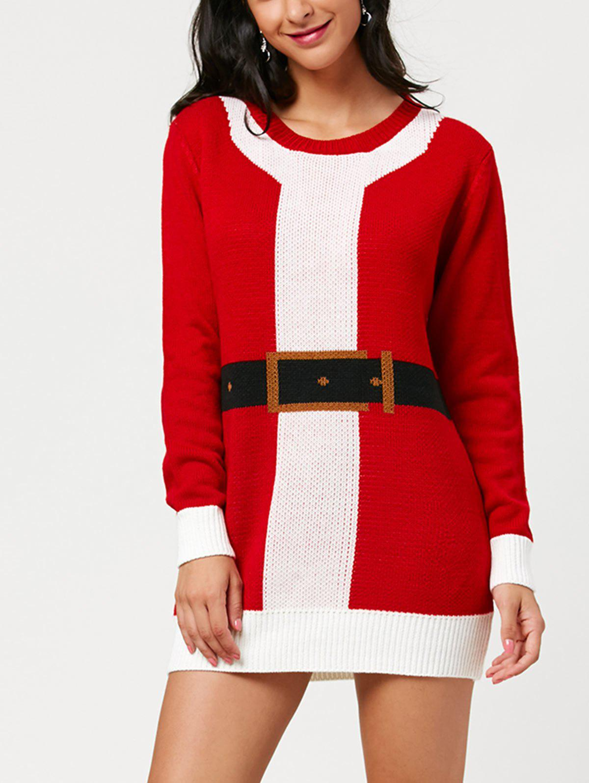 Christmas Mini Belted Pattern Sweater Dress - RED ONE SIZE