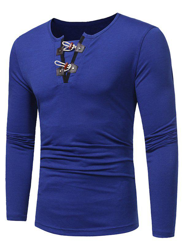 PU Leather Horn Button Long Sleeve T-shirt - ROYAL XL