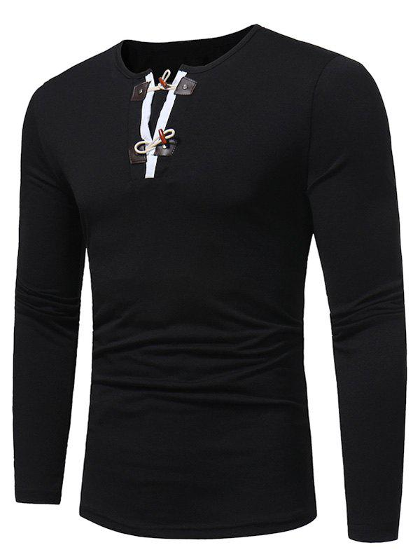 PU Leather Horn Button Long Sleeve T-shirt - BLACK M