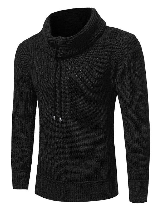 Drawstring Cowl Neck Pullover Sweater - BLACK 2XL