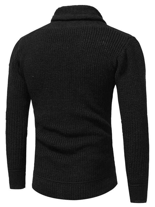 Drawstring Cowl Neck Pullover Sweater - BLACK L