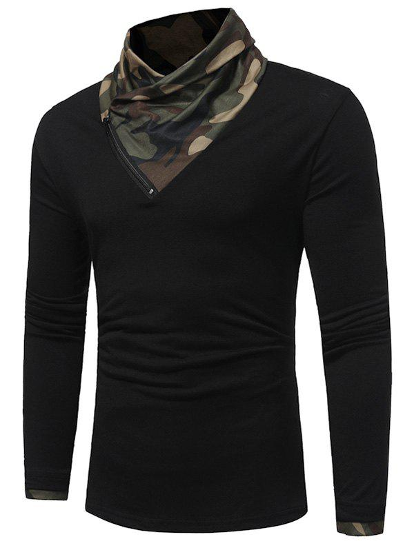 Zipper Camouflage Panel Cowl Neck T-shirt - BLACK 3XL