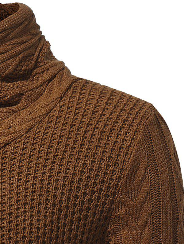 Cowl Neck Single Breasted Horn Button Cardigan - CAMEL XL