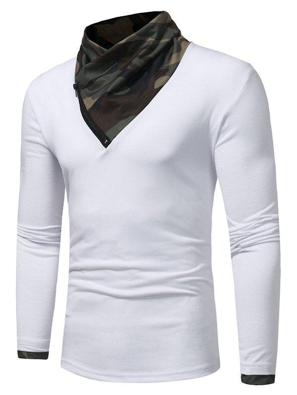 Zipper Camouflage Panel Cowl Neck T-shirt - WHITE 3XL
