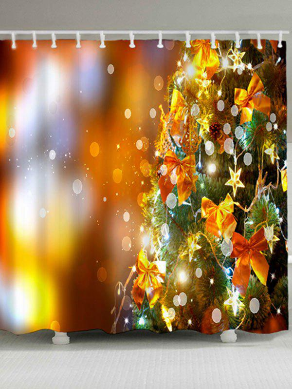 Christmas Tree Bowknot Waterproof Shower Curtain - GOLDEN W71 INCH * L71 INCH