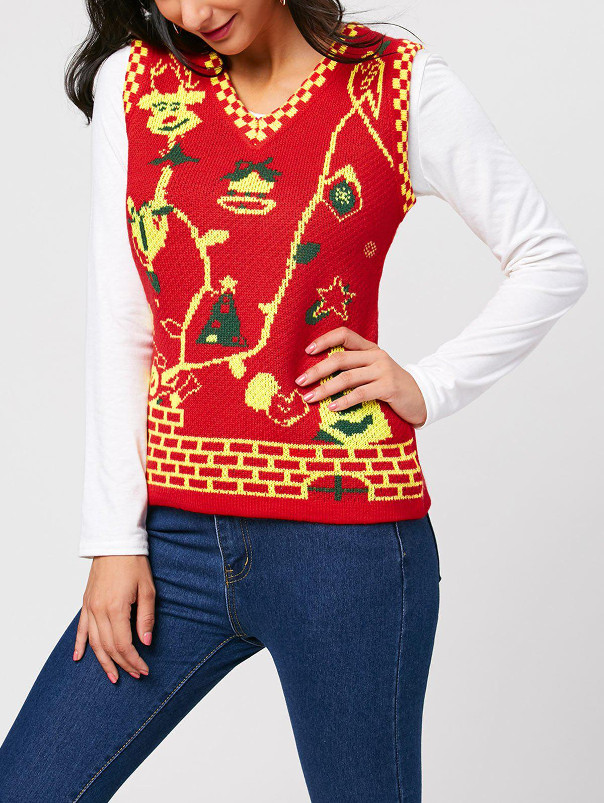 Sleeveless Cartoon Deer V Neck Knit Vest - RED ONE SIZE