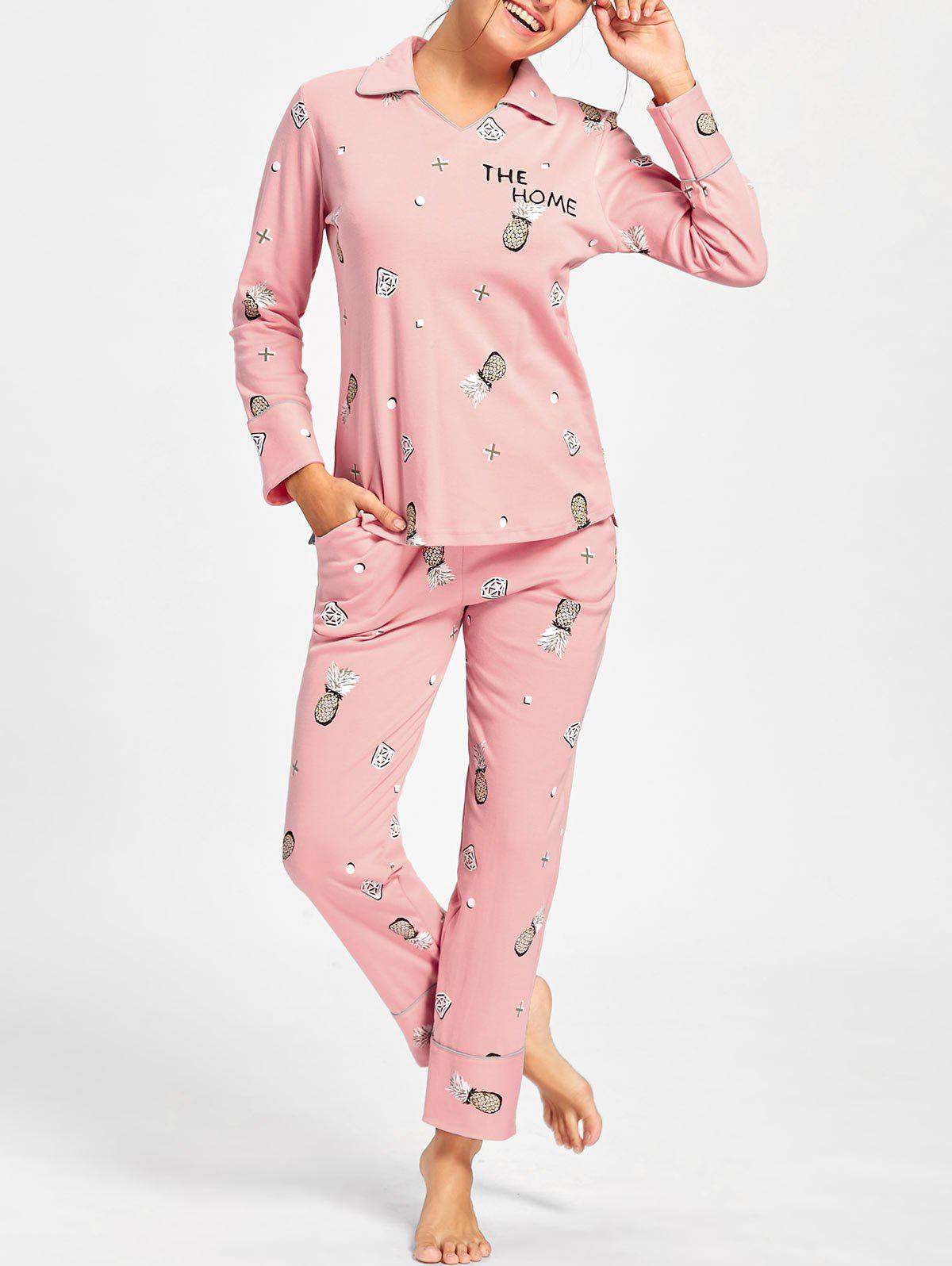 Pineapple Print Long Sleeve PJ Set - PINK M