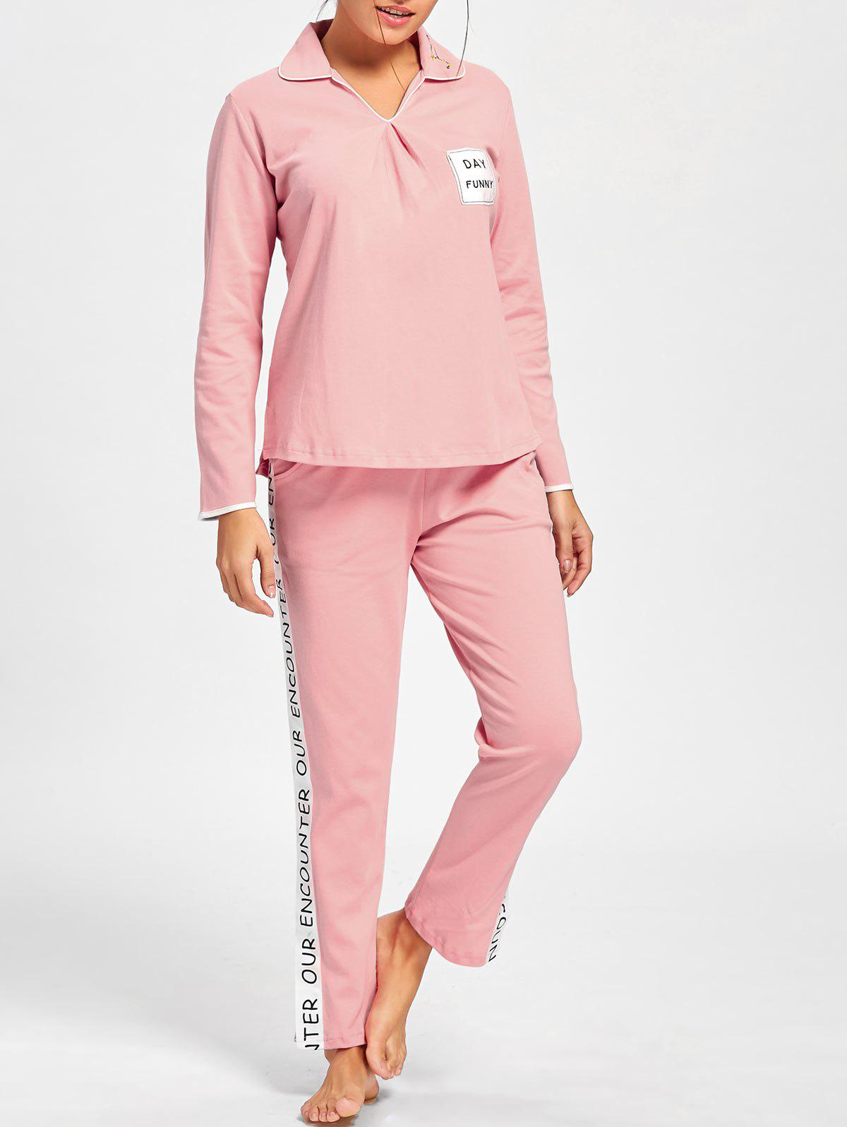 Pajama Tee with Letter Graphic Pants - LIGHT PINK L