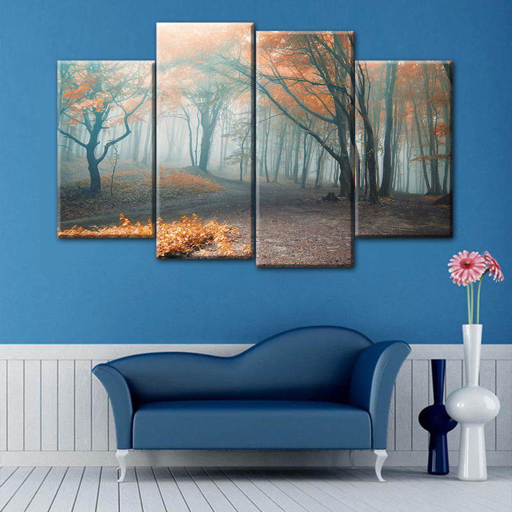 Fog Forest Print Wall Art Split Canvas Paintings burning guitar pattern unframed wall art canvas paintings