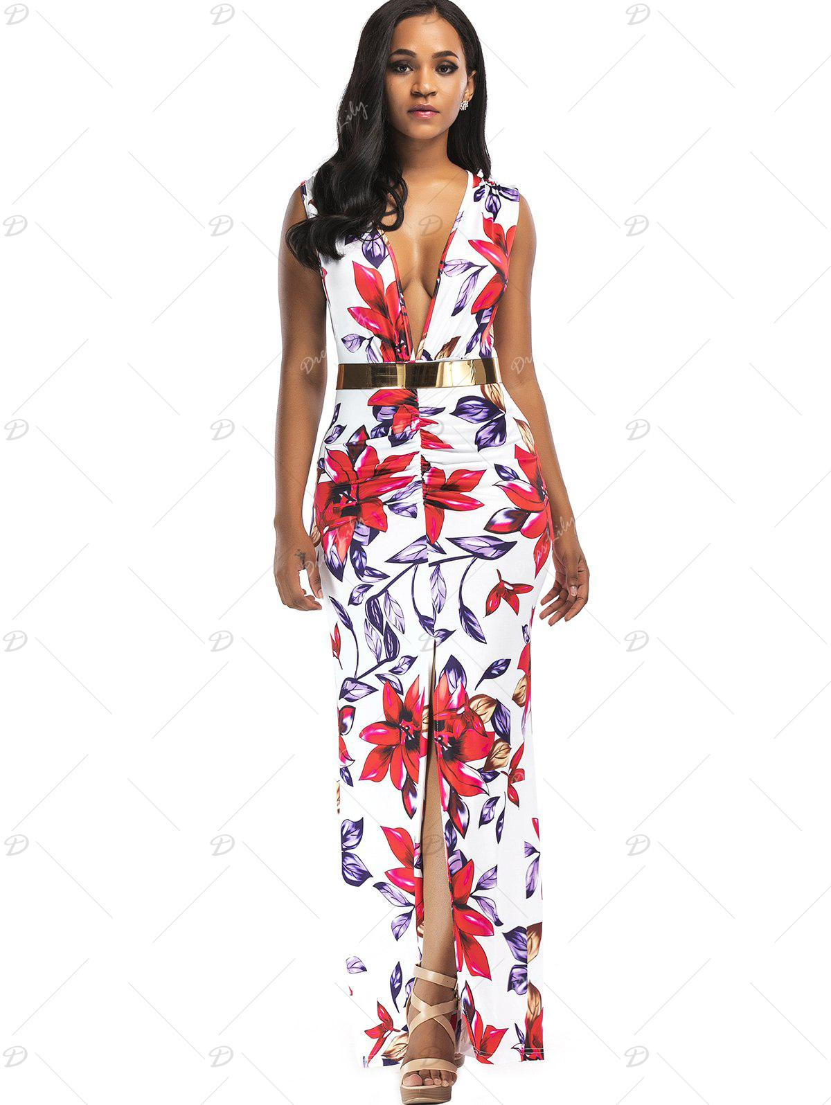Floral Print Plunging Slit Belted Maxi Dress - FLORAL XL