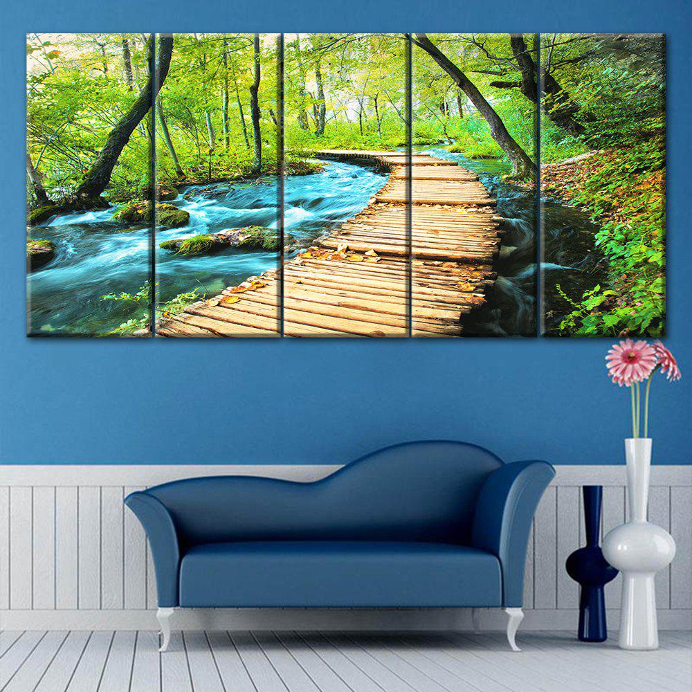 Forest Path Print Split Canvas Wall Art Paintings burning guitar pattern unframed wall art canvas paintings