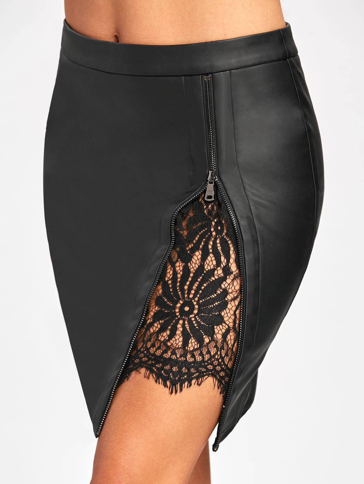 Lace Insert Fitted Faux Leather Skirt - BLACK XL