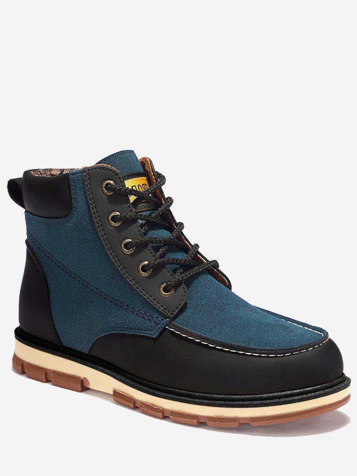 Color Block Moc Toe Ankle Boots - BLUE 44