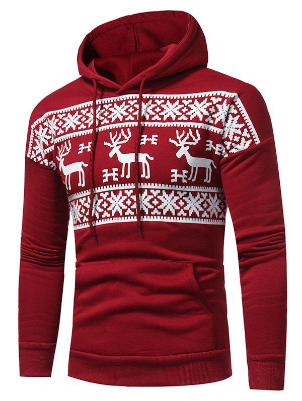 Fleece Snow and Reindeer Print Pullover Hoodie