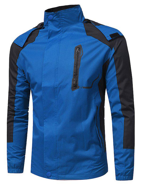 Hooded Color Block Zip Up Technical Jacket - BLUE 2XL