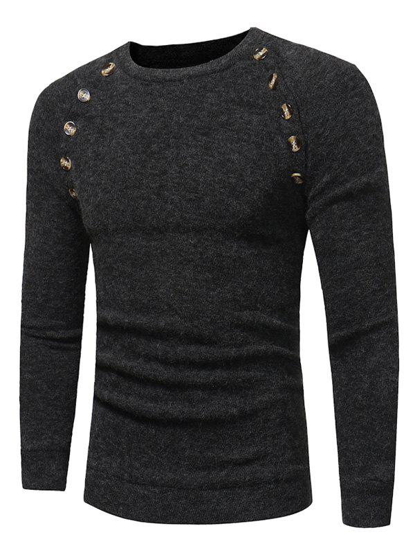 Raglan Sleeve Buttons Embellished Sweater - gris foncé 3XL
