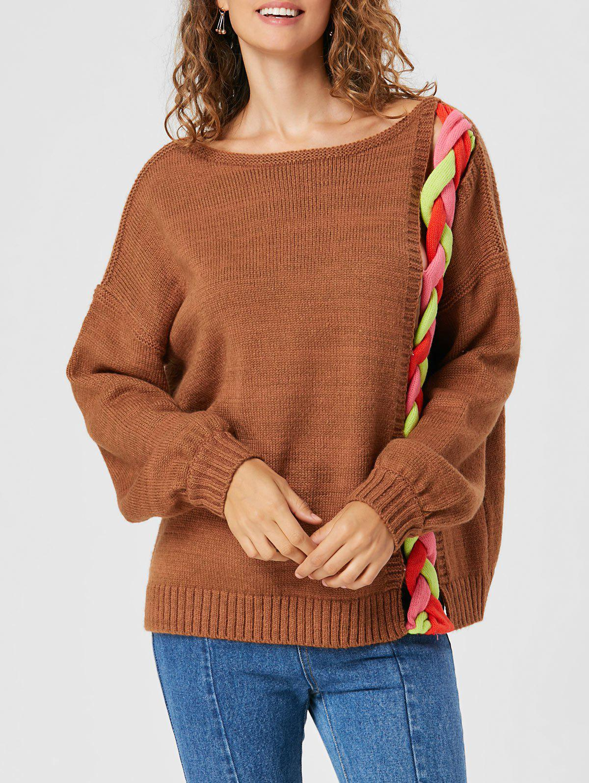 Drop Shoulder Cable Knit Sweater - LIGHT BROWN S