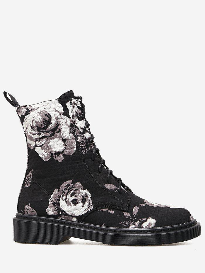 Floral Stitching Lace Up Boots - BLACK 40
