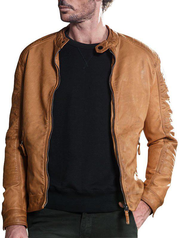 Mandarin Collar Zip Up Faux Leather Jacket