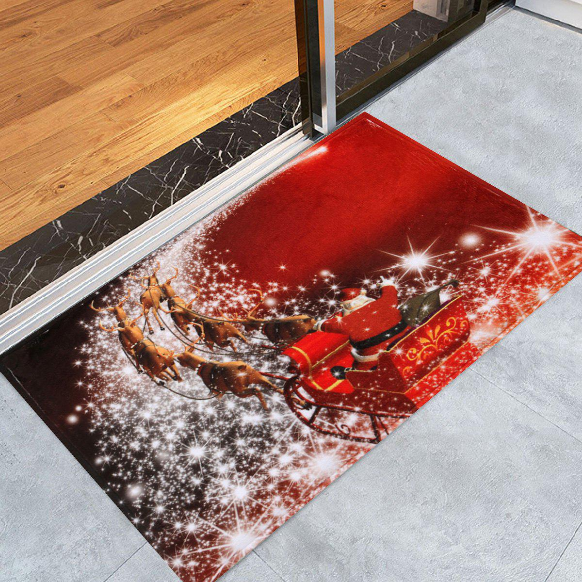 Christmas Sled Print Antiskid Bath Rug - RED W24 INCH * L35.5 INCH