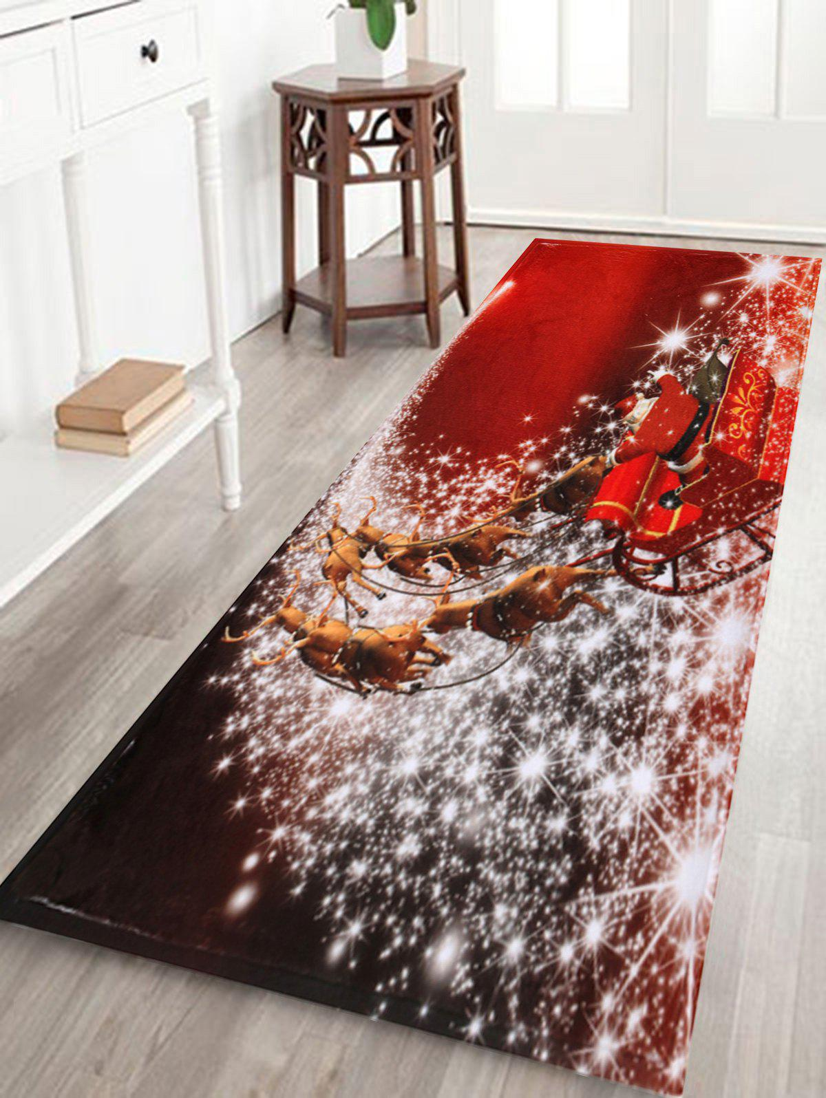 Christmas Sled Print Antiskid Bath Rug - RED W24 INCH * L71 INCH