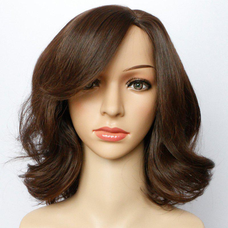Short Side Parting Towheaded Wavy Synthetic Wig - LIGHT BROWN 14INCH