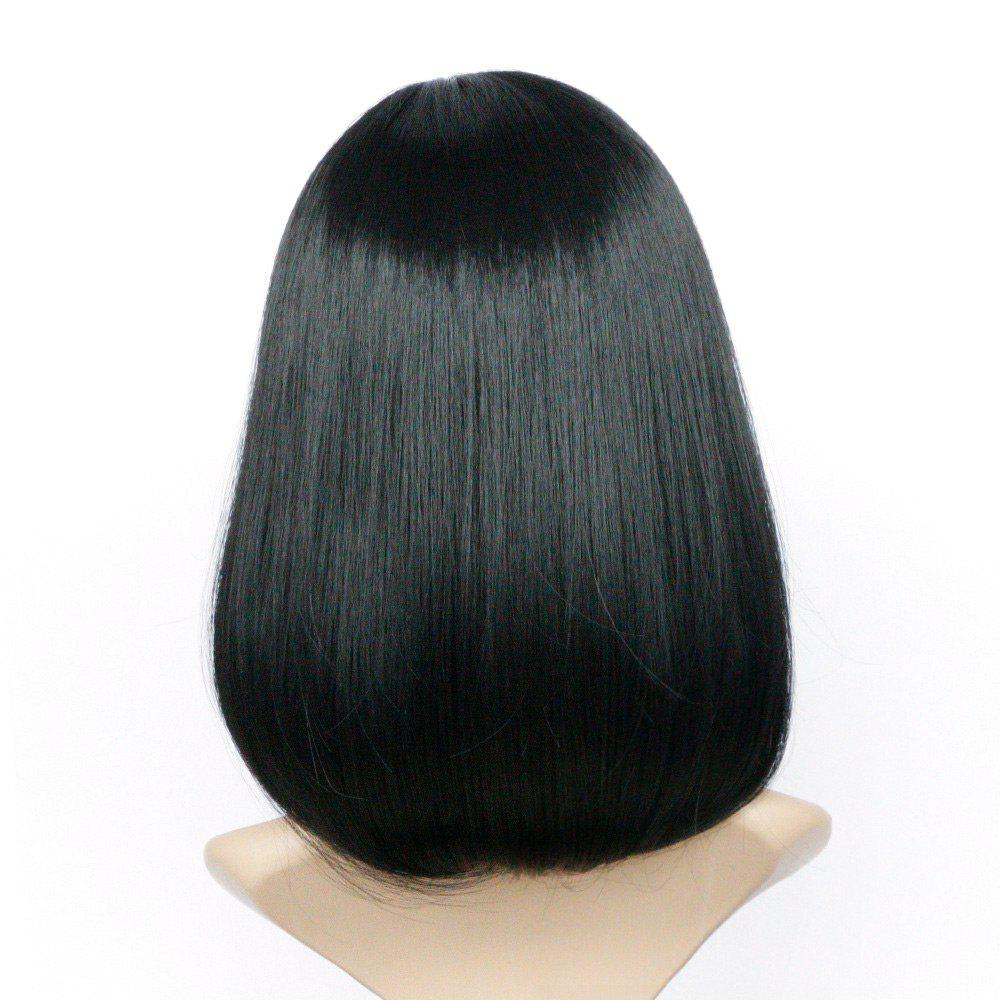 Side Parting Tail Adduction Straight Medium Bob Synthetic Wig - JET BLACK 16INCH