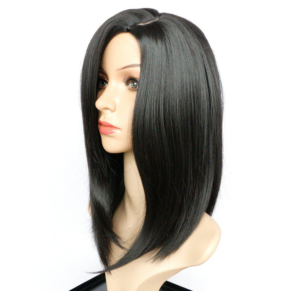 Medium Side Part Straight Bob Heat Resistant Synthetic Wig - JET BLACK 16INCH