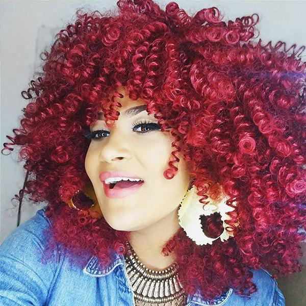 Medium Oblique Bang Fluffy Afro Curly Synthetic Wig - WINE RED