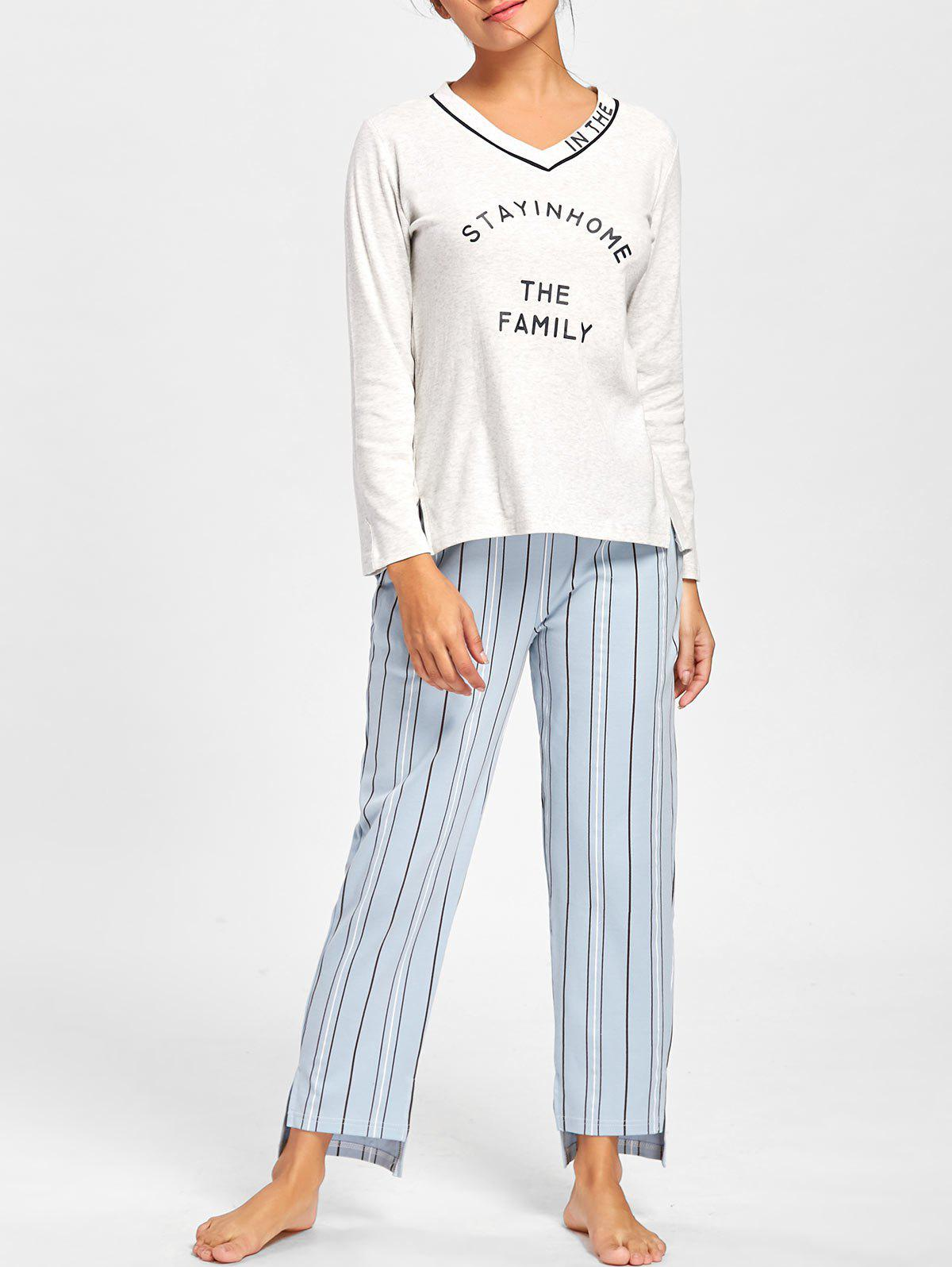 V Neck PJ Tee with Striped Pants - LIGHT GRAY M
