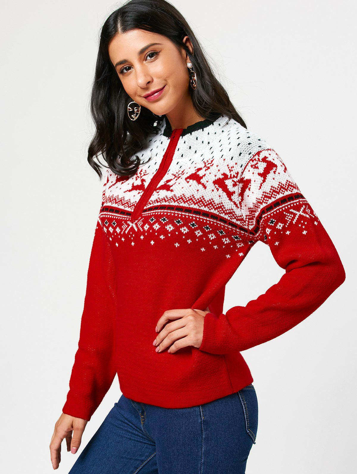 Half Zip Christmas Deers Pattern Pullover Sweater - RED ONE SIZE