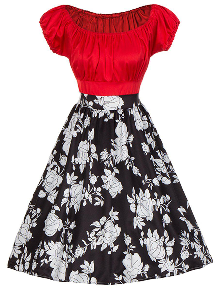 Vintage Floral Print Colorblock Ruched Pinup Dress - RED S