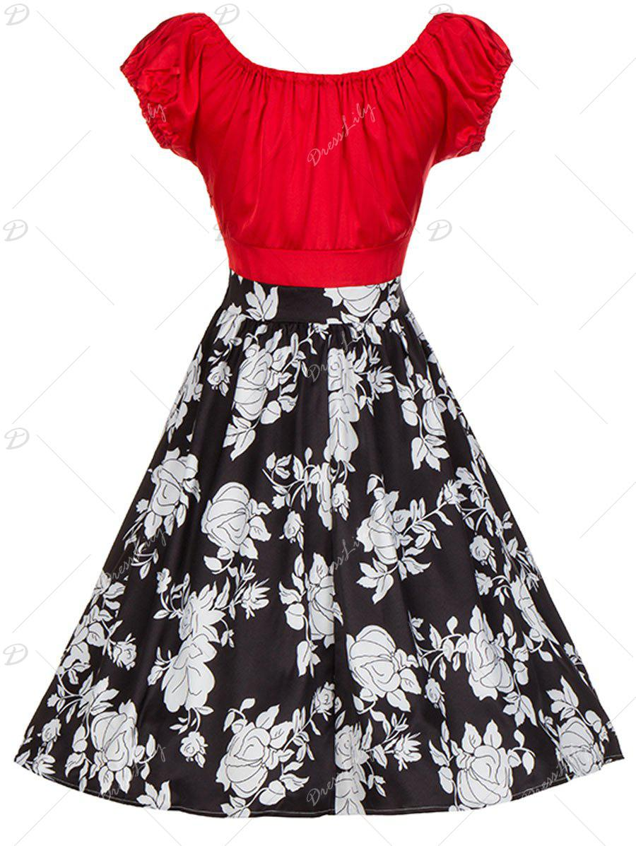 Vintage Floral Print Colorblock Ruched Pinup Dress - RED XL