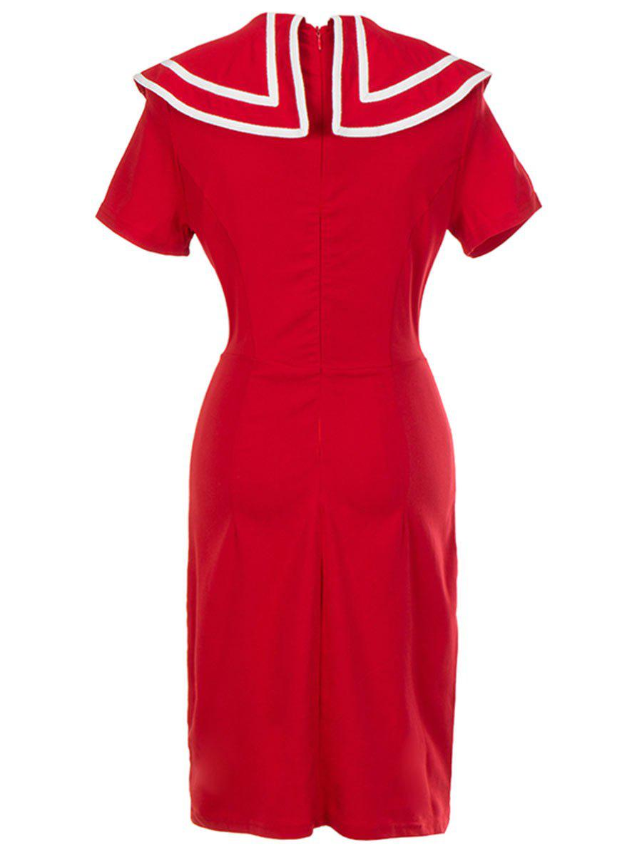 Vintage Double Breasted Bodycon Dress - RED M