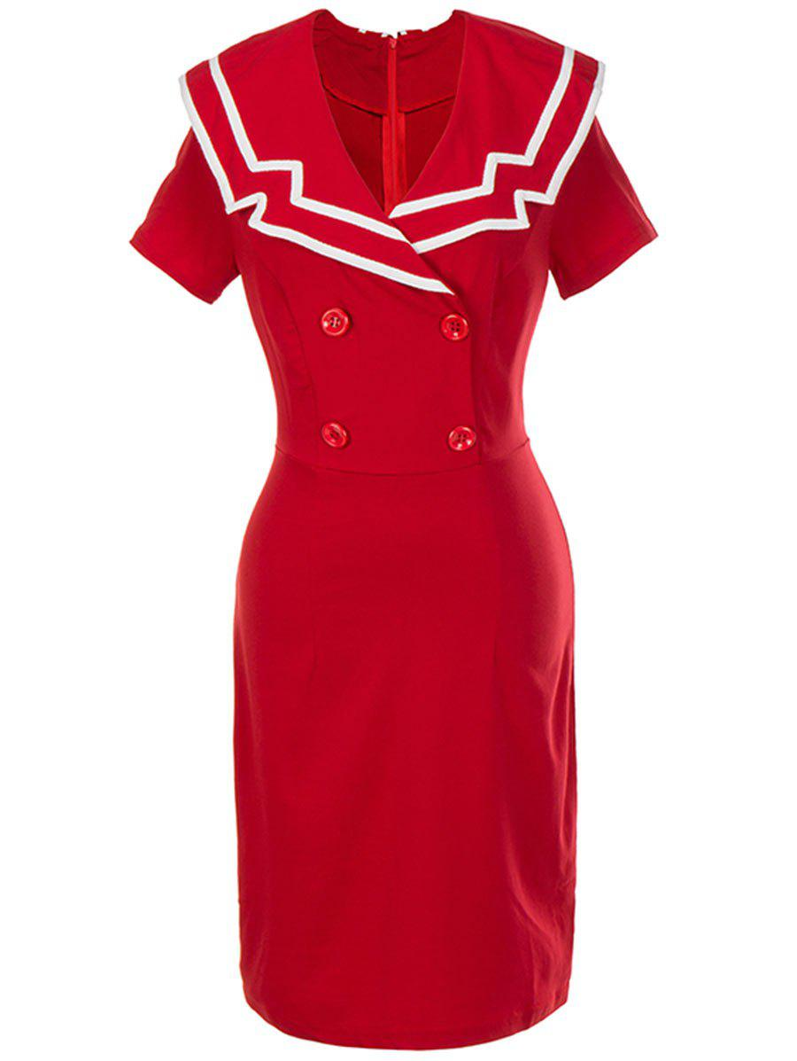 Vintage Double Breasted Bodycon Dress - Rouge XL