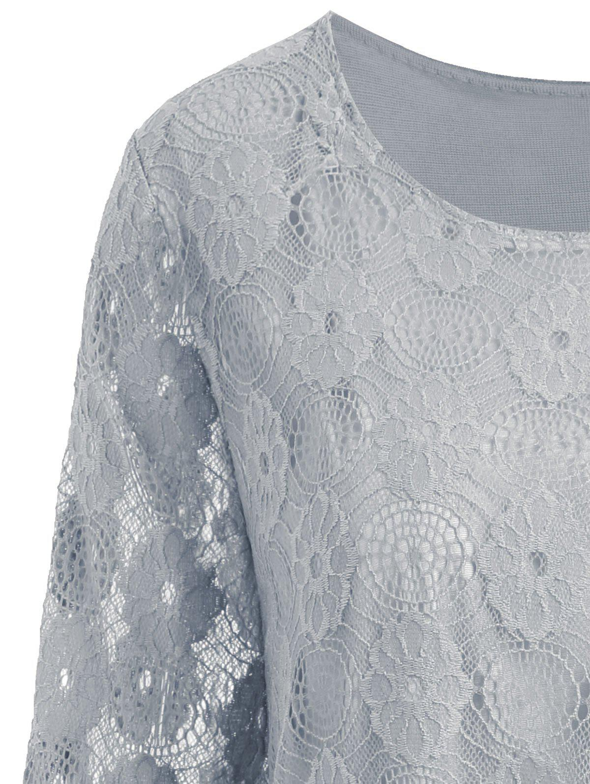 Plus Size Floral Lace Panel Longline Blouse - GRAY 4XL