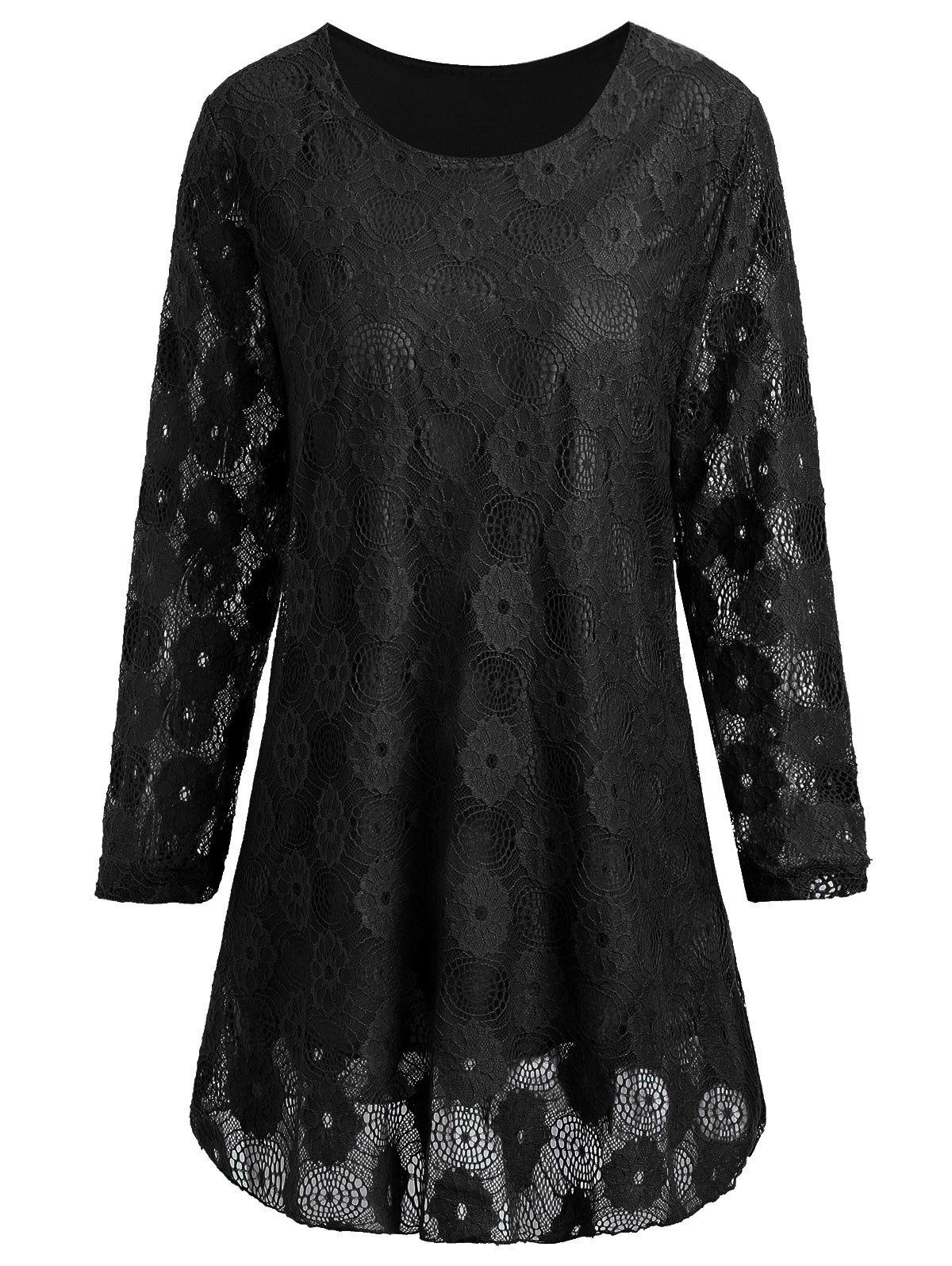 Plus Size Floral Lace Panel Longline Blouse - BLACK 5XL