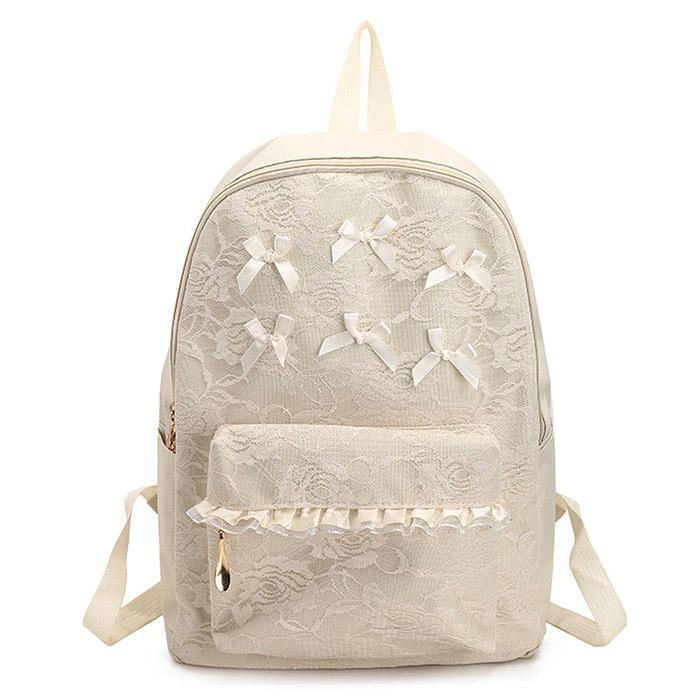 Bow Ribbon Lace Backpack - WHITE